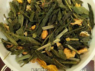 Имбирный апельсин, чай зеленый с имбирем