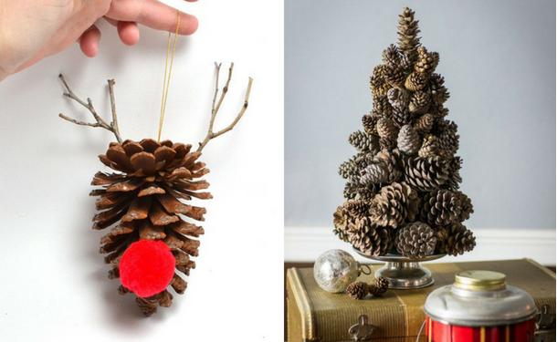 Ставим на поверхность елочки из шишек или делаем игрушки из шишек.