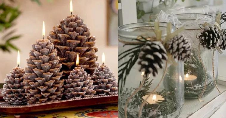 """Добавляем """"льдинок"""" в виде простых баночек и наполняем свечками и шишками."""
